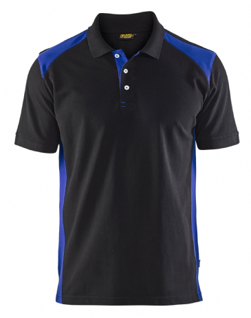 Blaklader 3324 Pique 2 Colour Polo Shirt (Black/Cornflower Blue)